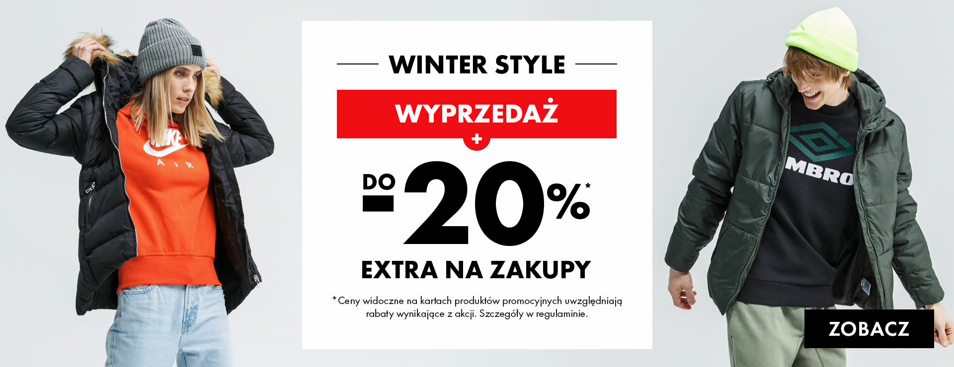 50Style: Winter Style 20% rabatu do wyprzedaży odzieży i obuwia sportowego