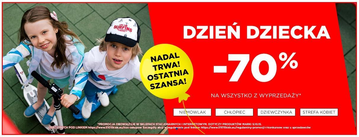 5.10.15.: wyprzedaż 70% rabatu na cały asortyment odzież i obuwia dziecięcego i dla mam - promocja na Dzień Dziecka