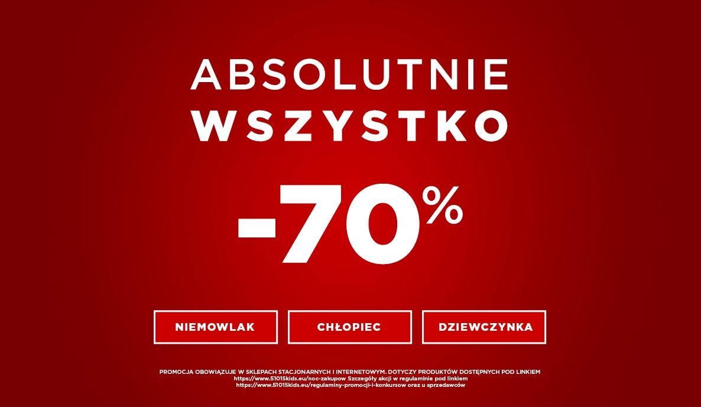 5.10.15.: wyprzedaż 70% zniżki na cały asortyment odzieży dla dzieci i młodzieży