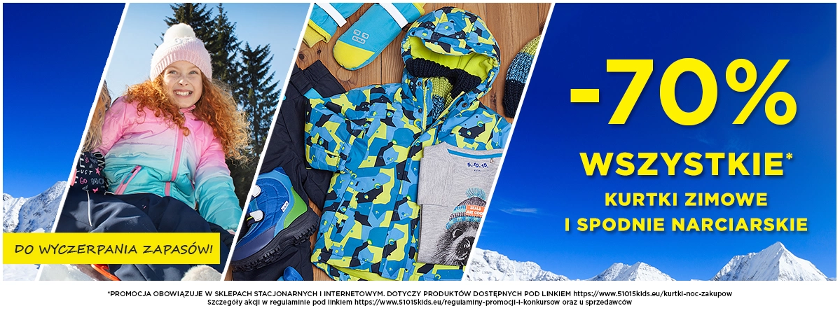 5.10.15.: wyprzedaż 70% zniżki na wszystkie kurtki zimowe i spodnie narciarskie                         title=
