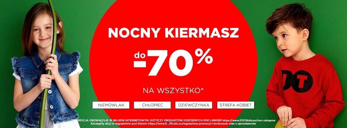 5.10.15.: do 70% rabatu na cały asortyment oznaczony Noc Zakupów - Nocny Kiermasz