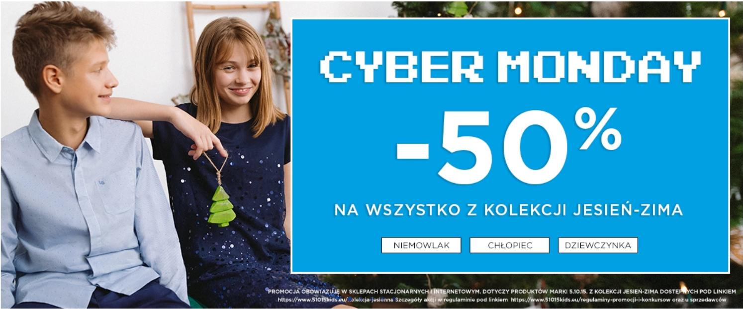5.10.15.: Cyber Monday 50% zniżki na odzież dziecięcą z kolekcji jesień-zima
