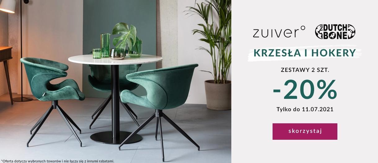 9design 9design: 20% zniżki na krzesła i hokery marek Zuiver oraz Dutch Bone przy zakupie 2 szt.
