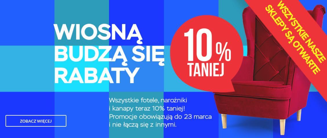 Abra Meble Abra Meble: wiosenna promocja 10% zniżki na fotele, narożniki i kanapy