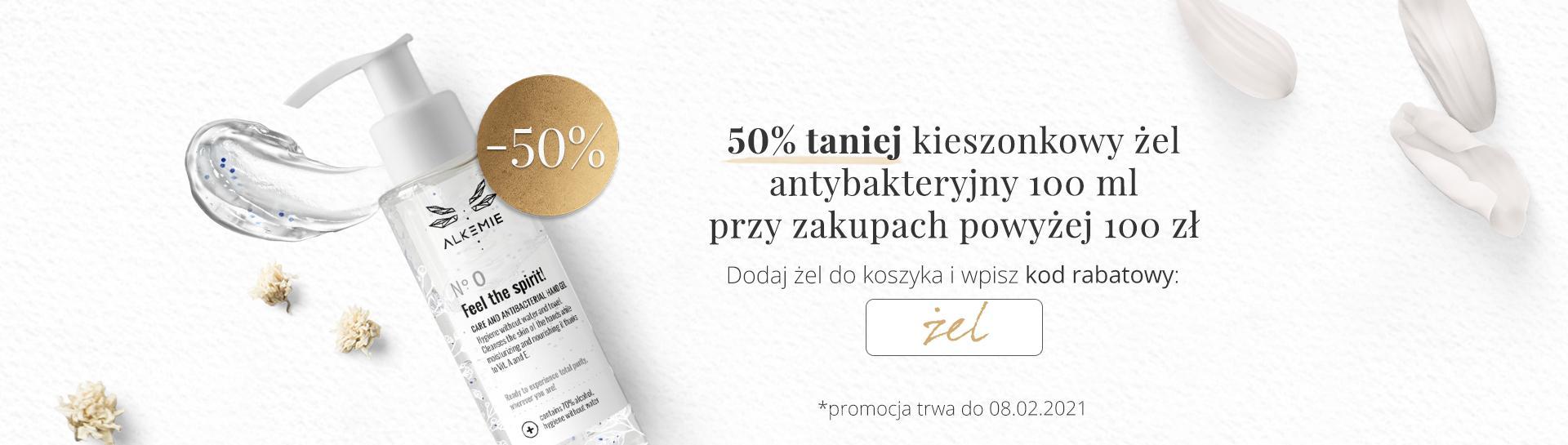 Alkemie: 50% zniżki na kieszonkowy żel antybakteryjny przy zakupach powyżej 100 zł