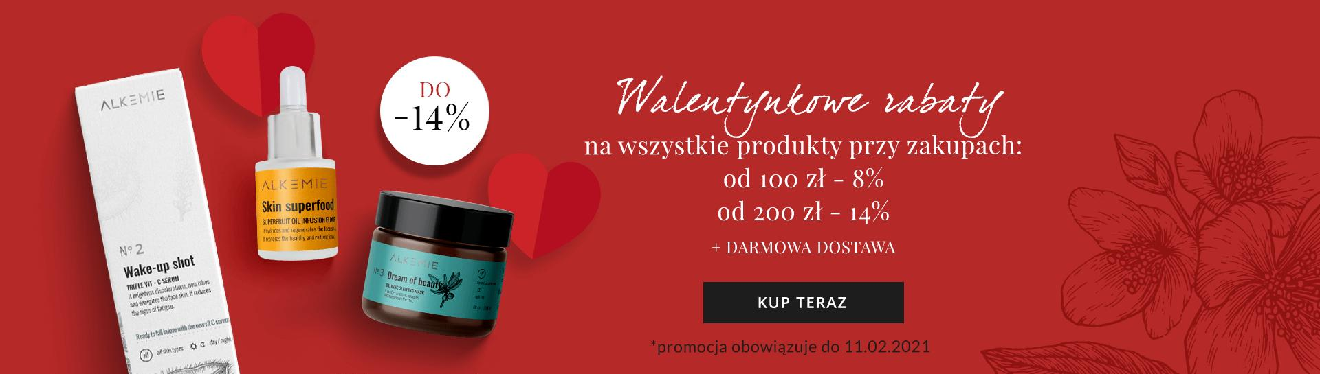 Alkemie: 14% zniżki na kosmetyki naturalne przy zakupach za min. 200 zł, 8% zniżki przy zakupach za min. 100 zł