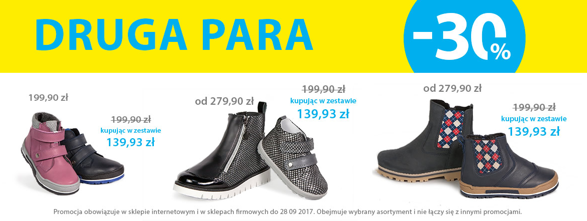 Bartek: 30% rabatu na drugą parę obuwia dla dzieci