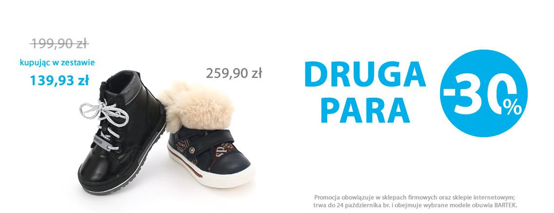 Bartek: 30% rabatu na drugą parę obuwia Bartek