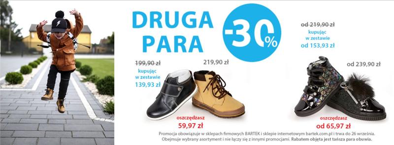 Bartek: 30% zniżki na drugą tańszą parę obuwia