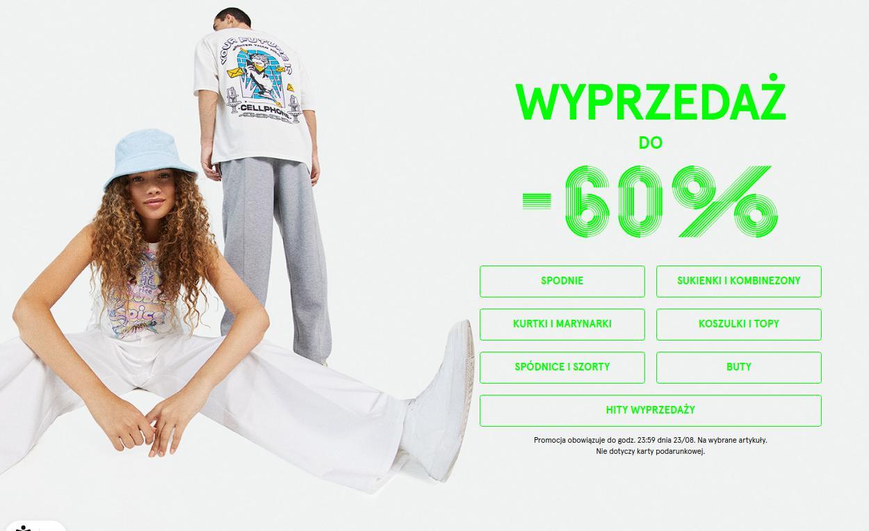 Bershka Bershka: wyprzedaż do 60% zniżki na odzież damską, męską oraz dziecięcą