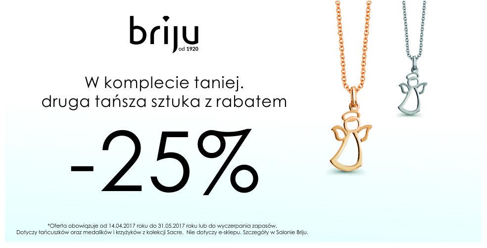Briju: 25% rabatu na drugą sztukę łańcuszków, medalików i krzyżyków z kolekcji Sacre                         title=