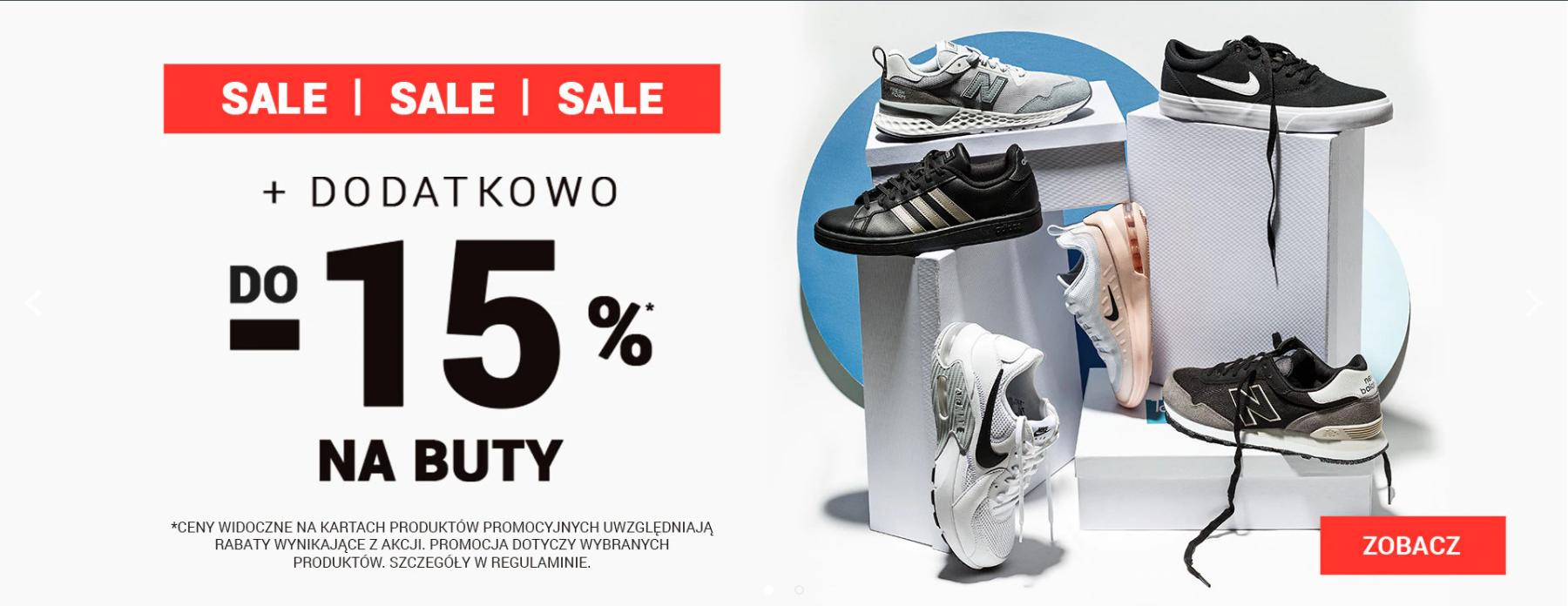 ButySportowe.pl: dodatkowe 15% zniżki do wyprzedaży na buty sportowe                         title=