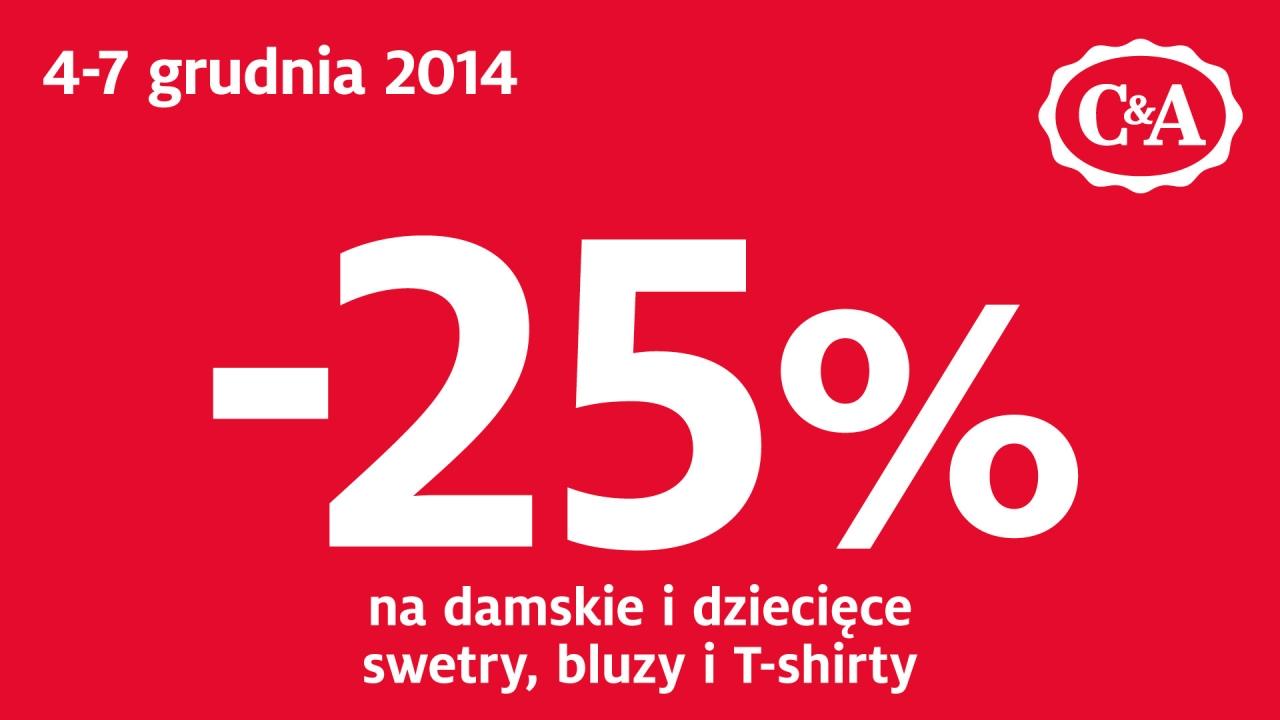 C&A: rabat 25% na swetry, bluzy, t-shirty