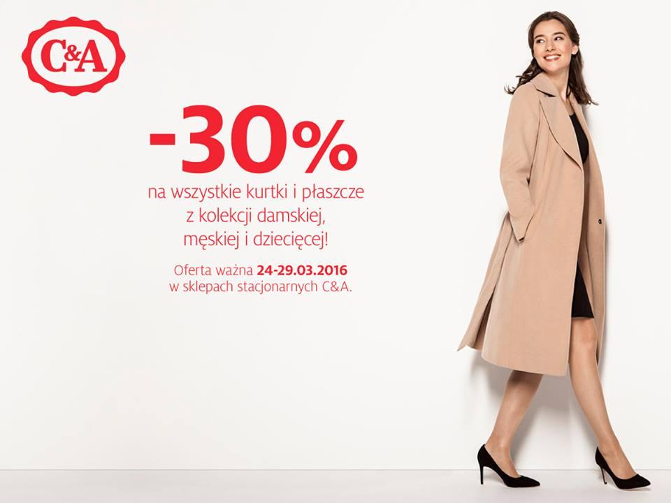 C&A: 30% zniżki na kurtki i płaszcze                         title=