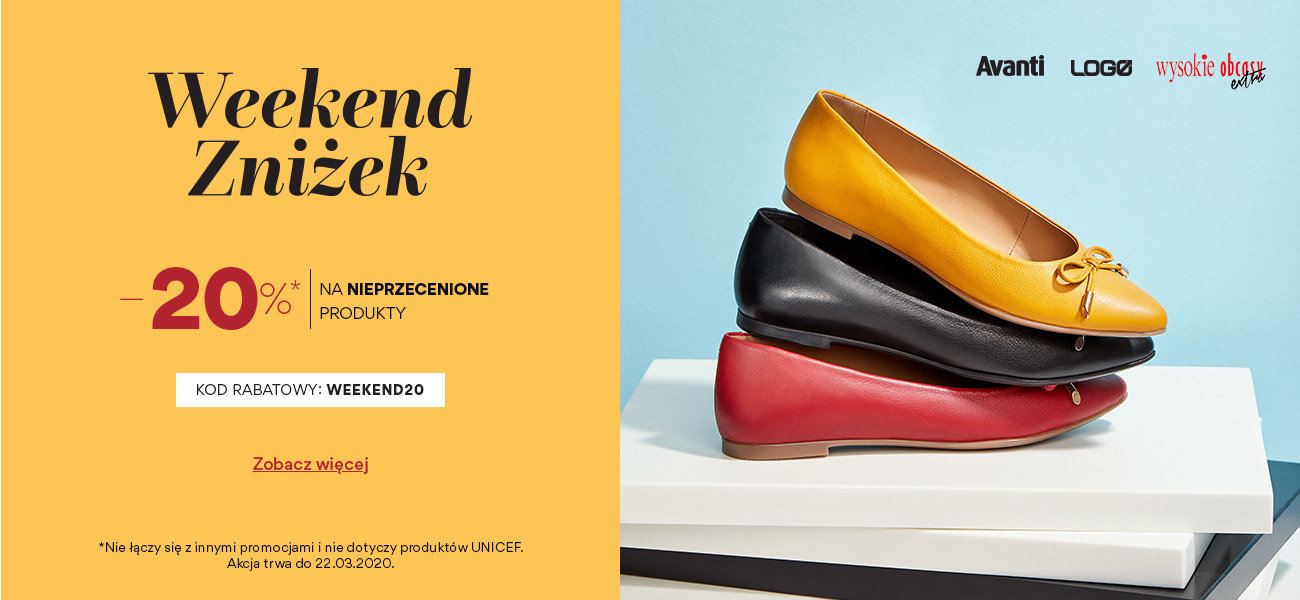 CCC: Weekend Zniżek 20% rabatu na nieprzecenione buty damskie, męskie i dziecięce                         title=