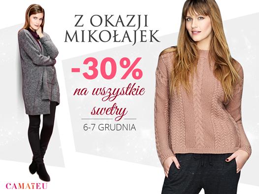 Camaïeu Camaieu: promocja 30% na wszystkie swetry