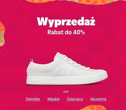 Camper: wyprzedaż do 40% zniżki na buty damskie, buty męskie oraz buty dziecięce
