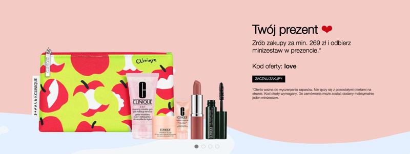 Clinique: Walentynkowa promocja przy zakupach za min. 269 zł, minizestaw kosmetyków w prezencie                         title=