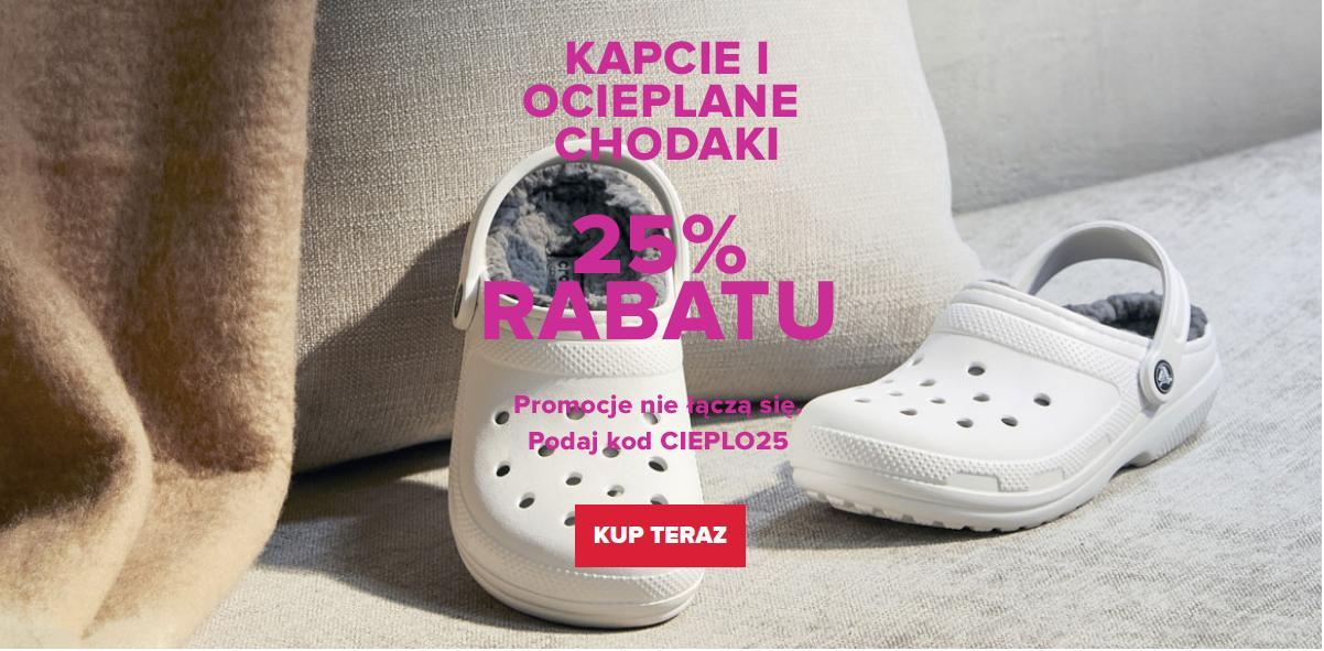 Crocs: 25% zniżki na kapcie i ocieplane chodaki