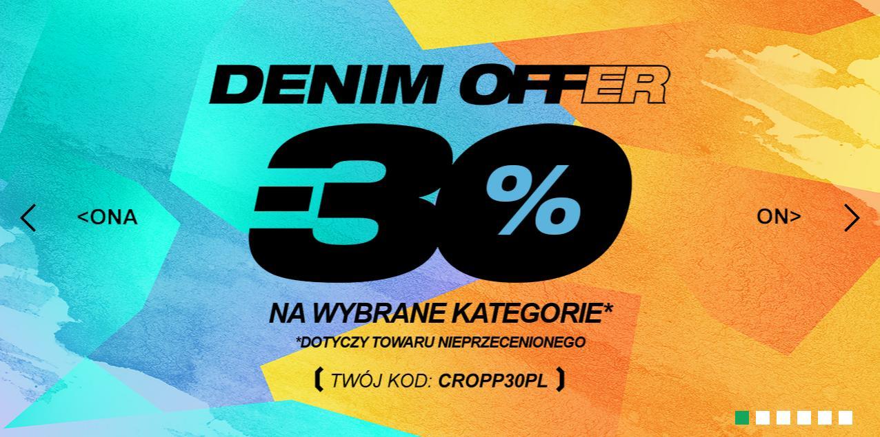 Cropp: 30% zniżki na wybrane produkty - odzież, obuwie i akcesoria - Denim Offer