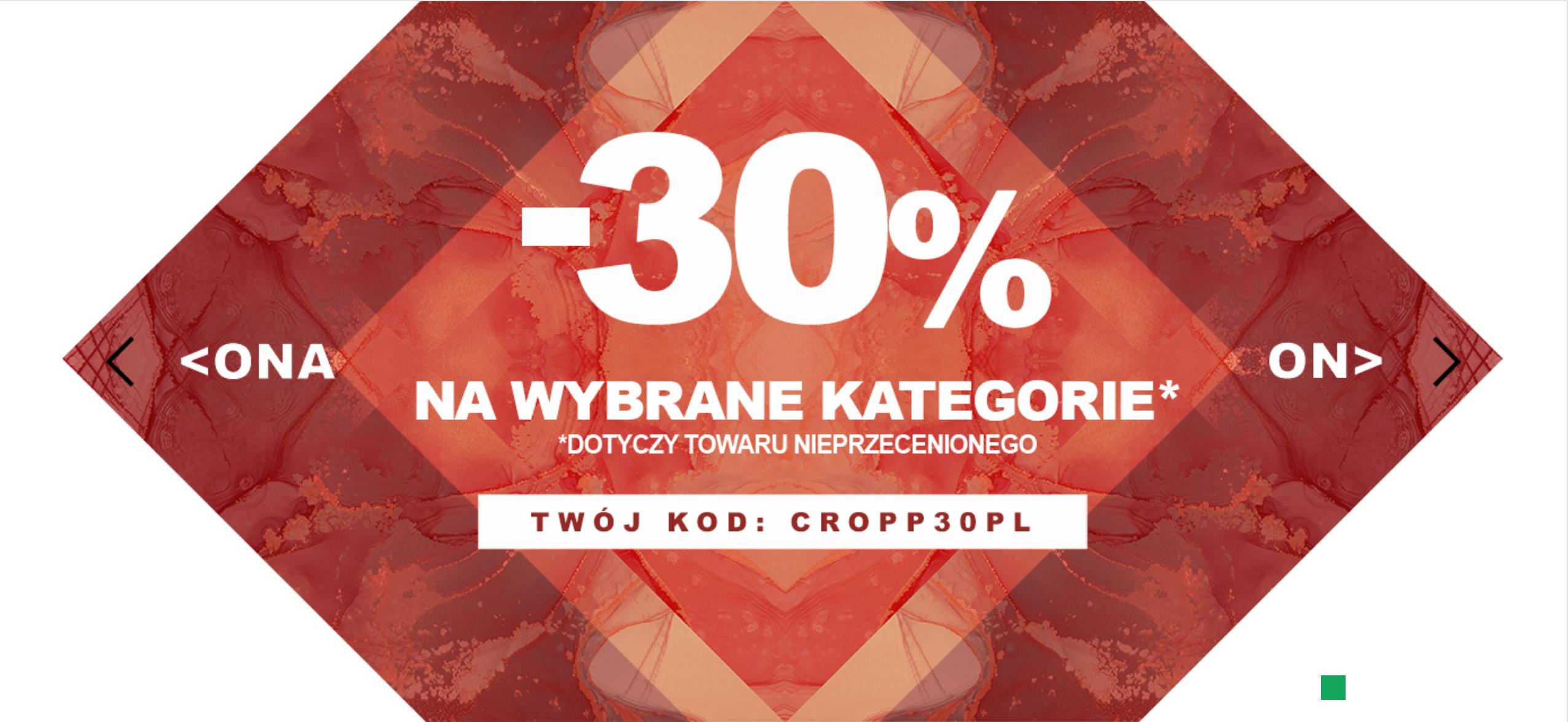 Cropp: 30% zniżki na nieprzecenioną odzież damską i męską