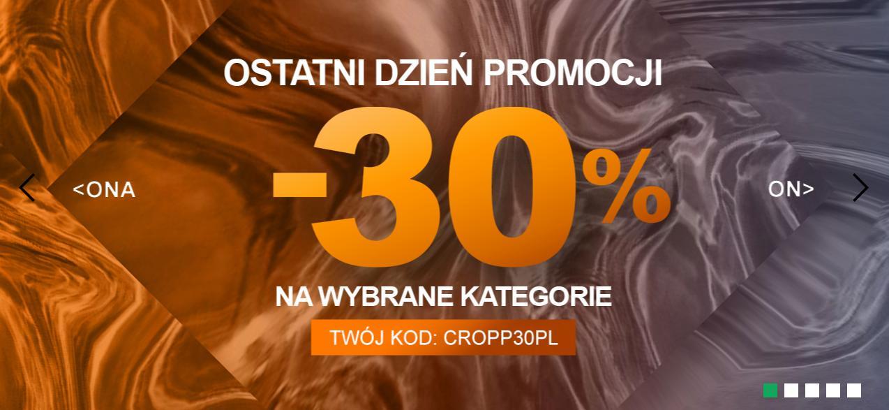 Cropp Cropp: 30% zniżki na odzież damską, męską oraz dziecięcą - ostatni dzień promocji