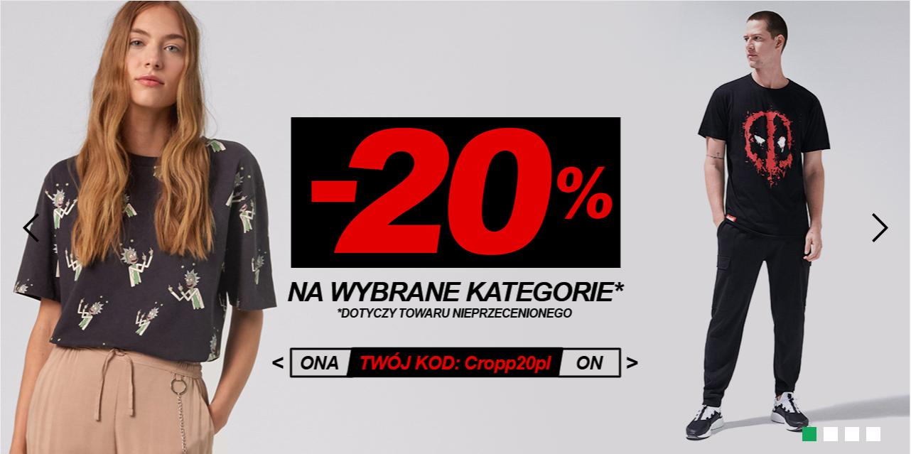 Cropp Cropp: 20% rabatu na wybraną odzież damską i męską