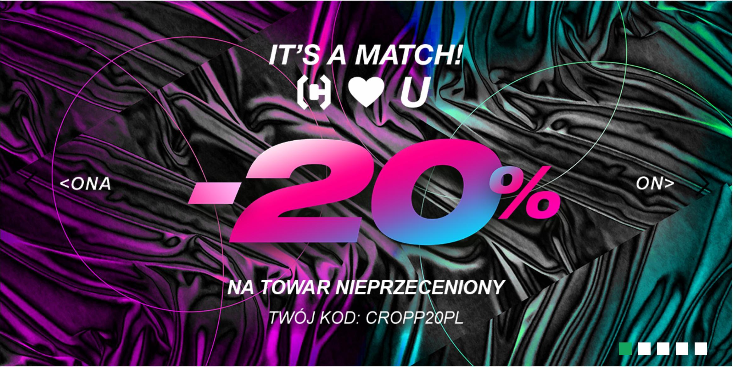 Cropp: Walentynkowa promocja 20% rabatu na nieprzecenioną odzież damską i męską