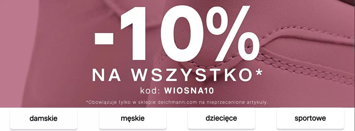 Deichmann Deichmann: 10% rabatu na obuwie damskie, męskie, dziecięce, torby i akcesoria