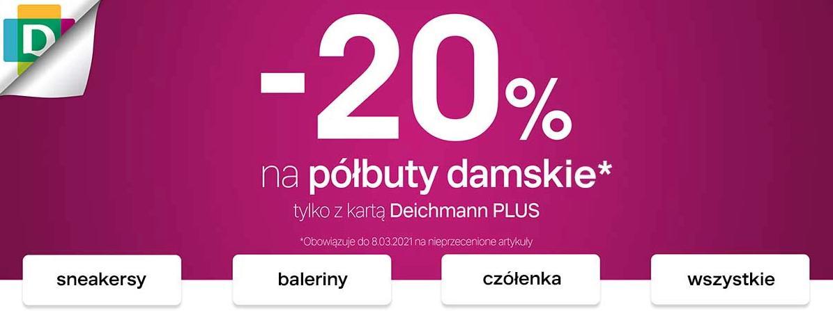 Deichmann Deichmann: 20% rabatu na półbuty damskie - tylko z kartą Deichmann - promocja na Dzień Kobiet