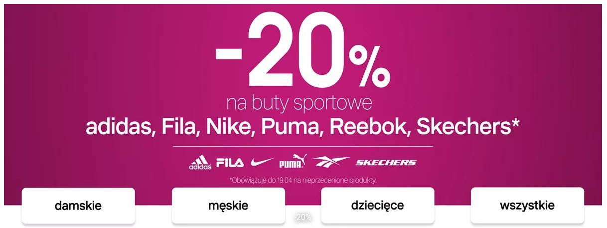 Deichmann: 20% zniżki na buty sportowe adidas, Fila, Nike, Puma, Reebok, Skechers
