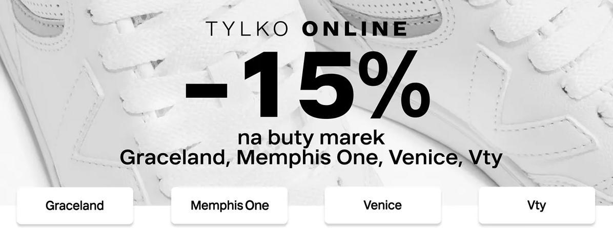 Deichmann Deichmann: 15% zniżki na nieprzecenione buty marek: Graceland, Memphis One, Venice i Vty