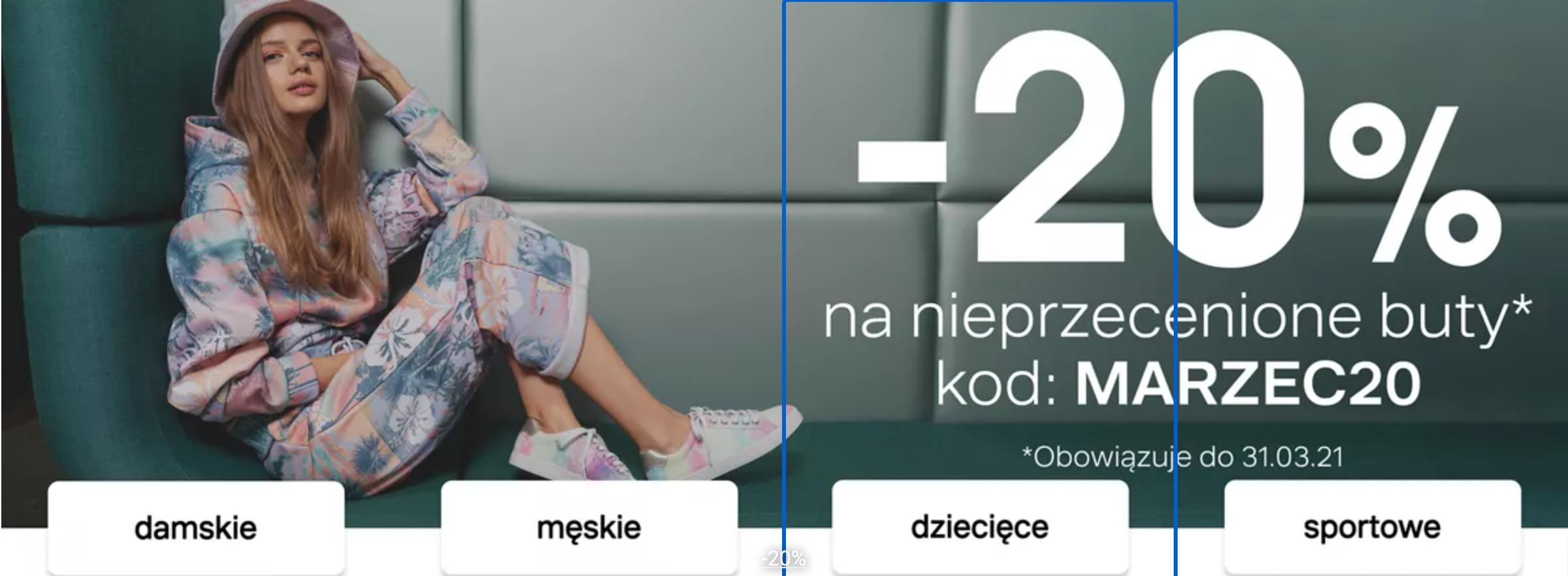 Deichmann Deichmann: 20% rabatu na nieprzecenione buty damskie, męskie i dziecięce