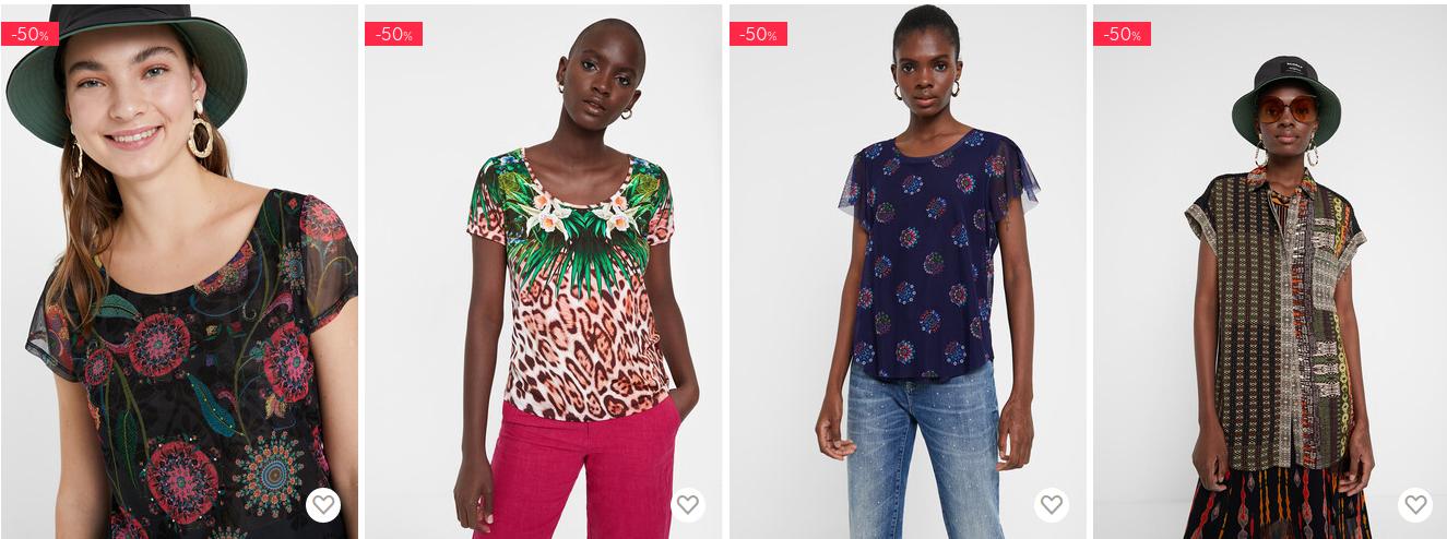 Desigual: wyprzedaż 50% rabatu na koszulki i topy damskie, męskie i dziecięce                         title=