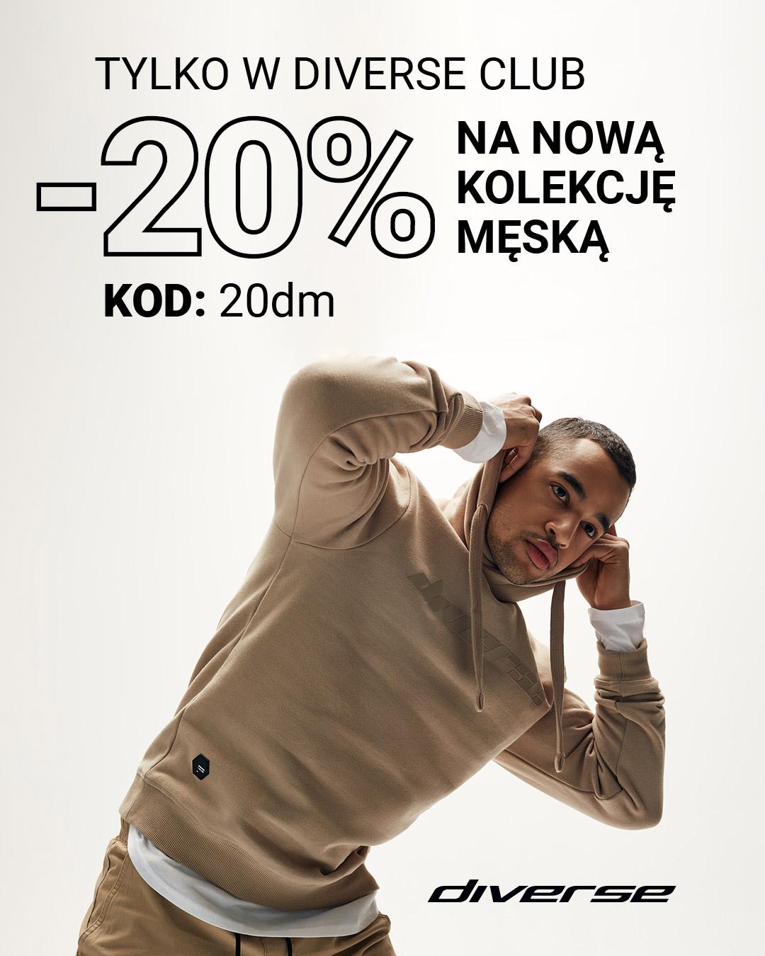 Diverse: 20% zniżki na nową kolekcję odzieży męskiej - promocja na Dzień Mężczyzn