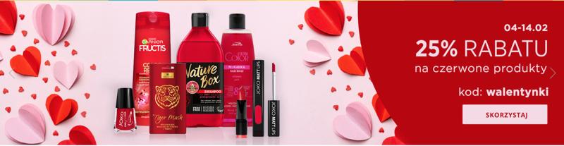 Drogerie Natura: Walentynkowa promocja 25% rabatu na czerwone produkty