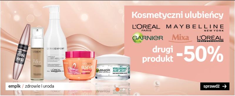 Empik: 50% rabatu na drugi kosmetyk marek L'Oréal Paris, Maybelline, Garnier i MIXA