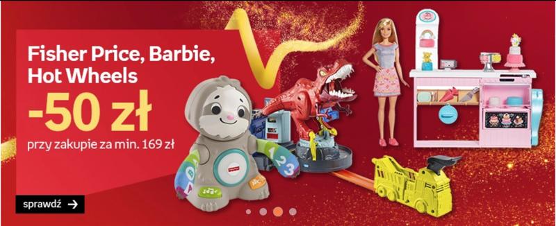 Empik: 50 zł rabatu przy zakupie zabawki Fisher Price, Barbie, Hot Wheels za min. 169 zł