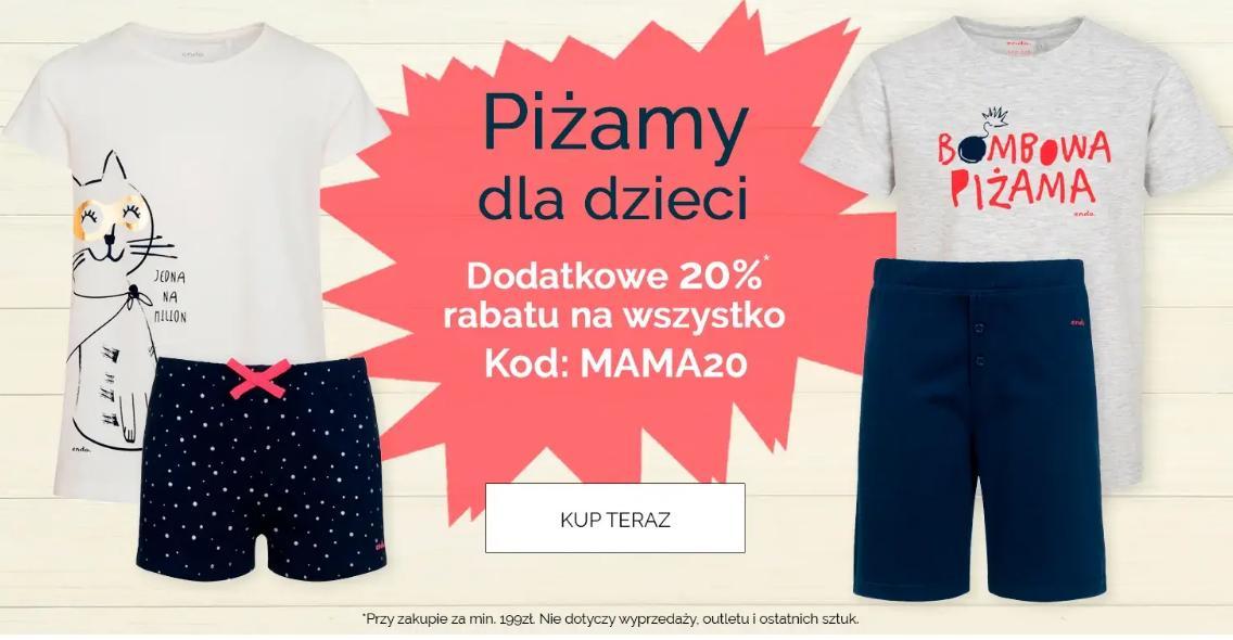 Endo: dodatkowe 20% rabatu na piżamy dla dzieci - promocja na Dzień Mamy