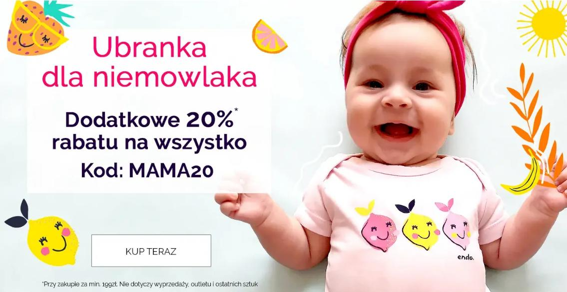 Endo Endo: dodatkowe 20% zniżki na ubranka dla niemowlaka