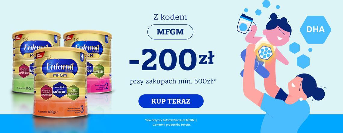 Enfamil: 200 zł zniżki przy zakupach wybranego mleka modyfikowanego za min. 500 zł