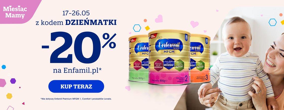 Enfamil Enfamil: 20% zniżki na wybrane mleka modyfikowane dla dzieci i niemowląt