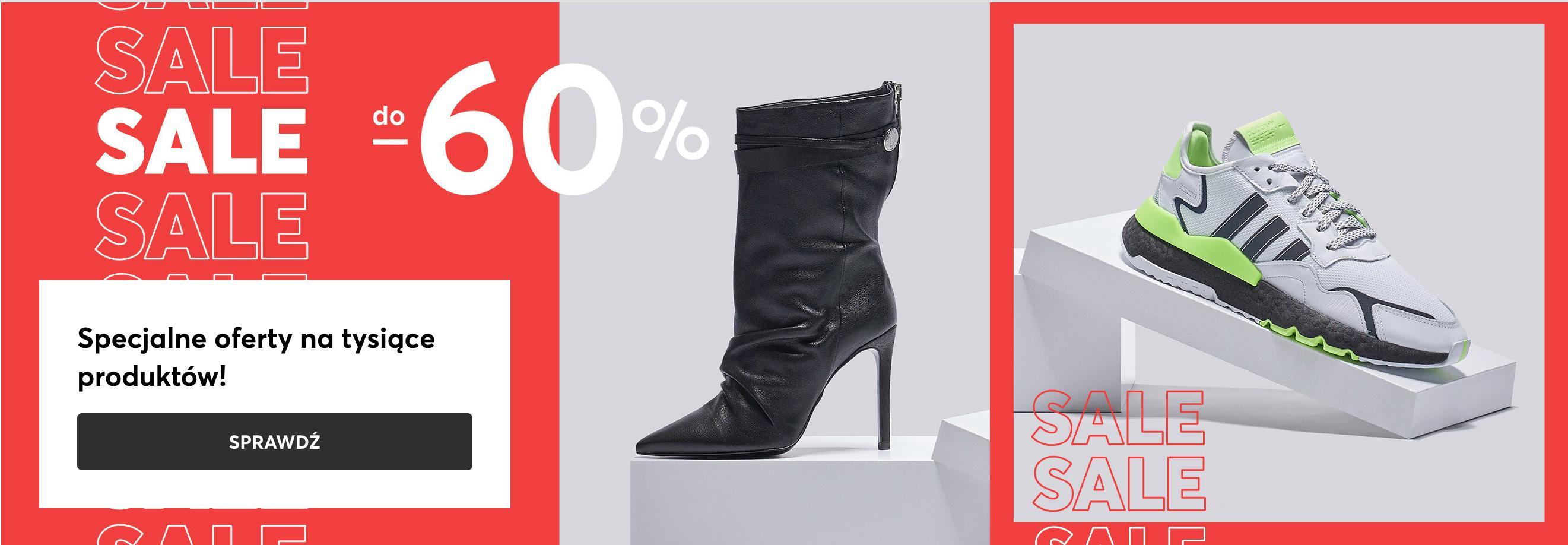 Eobuwie: wyprzedaż do 60% rabatu na obuwie damskie, męskie i dziecięce, torby oraz akcesoria