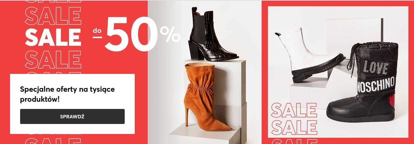 Eobuwie: wyprzedaż do 50% zniżki na obuwie damskie, męskie i dziecięce, torby oraz akcesoria
