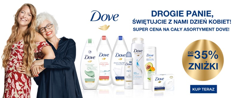 Ezebra: do 35% zniżki na kosmetyki marki Dove z okazji Dnia Kobiet