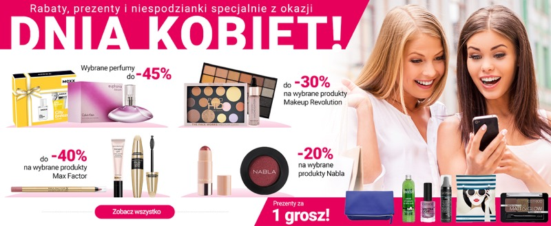 Ezebra: na Dzień Kobiet do 45% rabatu na wybrane perfumy oraz do 40% rabatu na wybrane kosmetyki