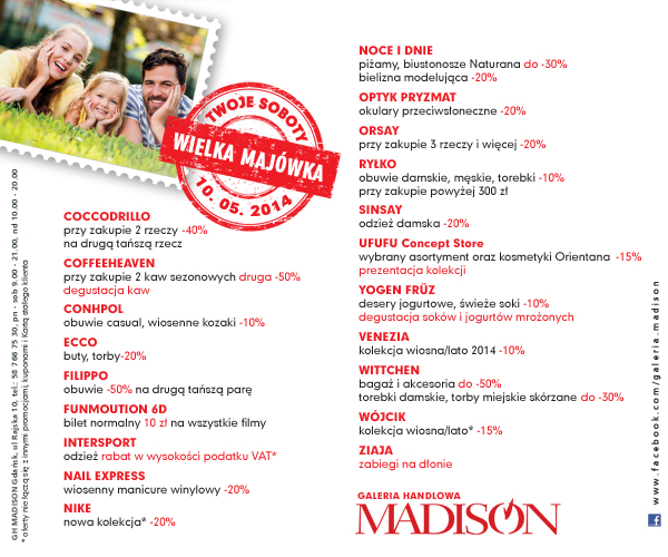 Wielka Majówka w Gdańsku w galerii Madison 10 maja 2014                          title=