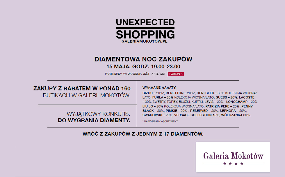 Diamentowa Noc Zakupów w Warszawie w galerii Mokotów 15 maja 2014