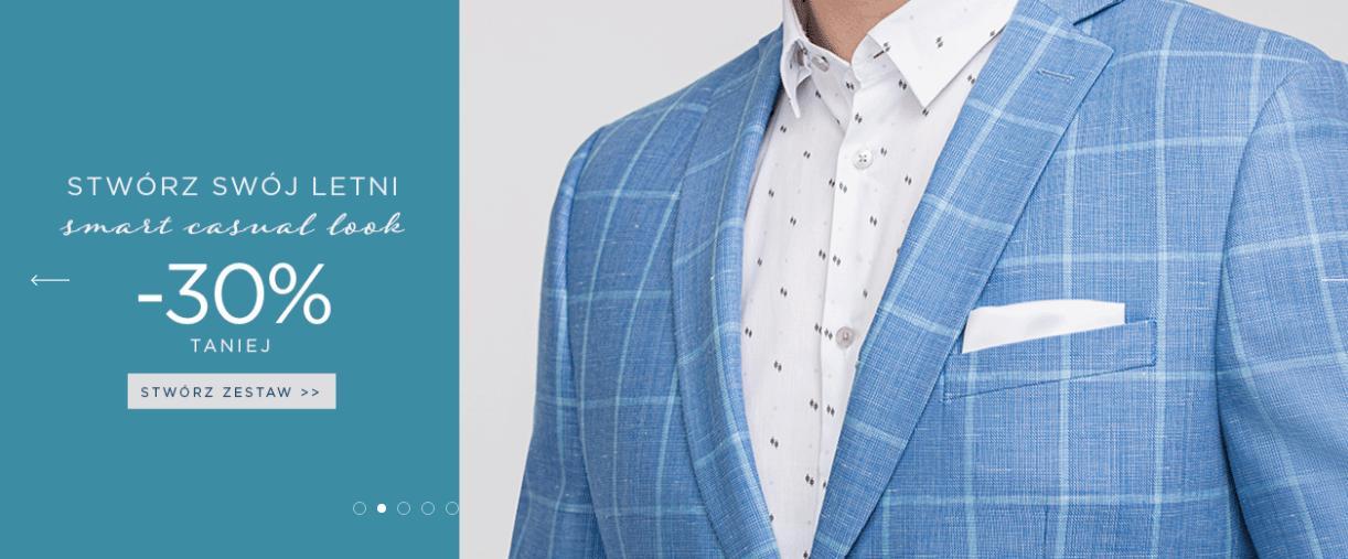 Giacomo Conti Giacomo Conti: 30% zniżki na odzież męską - letnie koszule, spodnie, marynarki i wiele innych