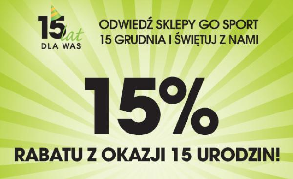 Go Sport: 15% rabatu z okazji 15 urodzin